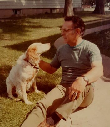 Don Thompson with his dog Britta in 1972